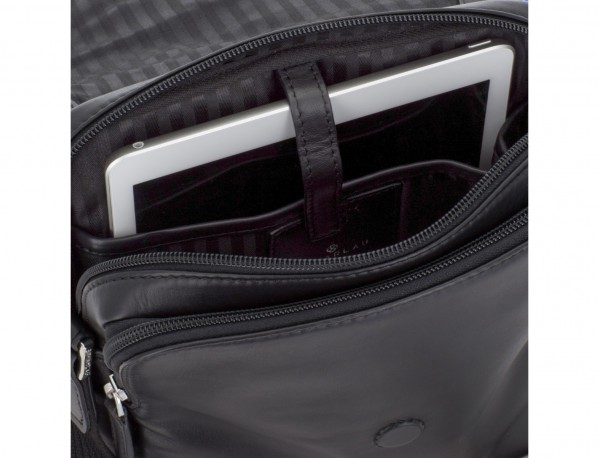 Leather crossbody bag with flap in black tablet