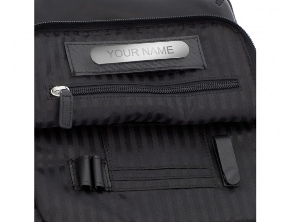 Leather crossbody bag with flap in black personalized