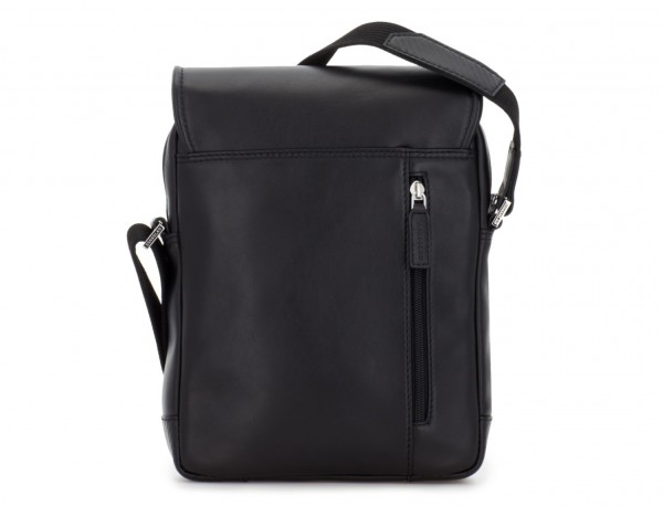 Leather crossbody bag with flap in black back