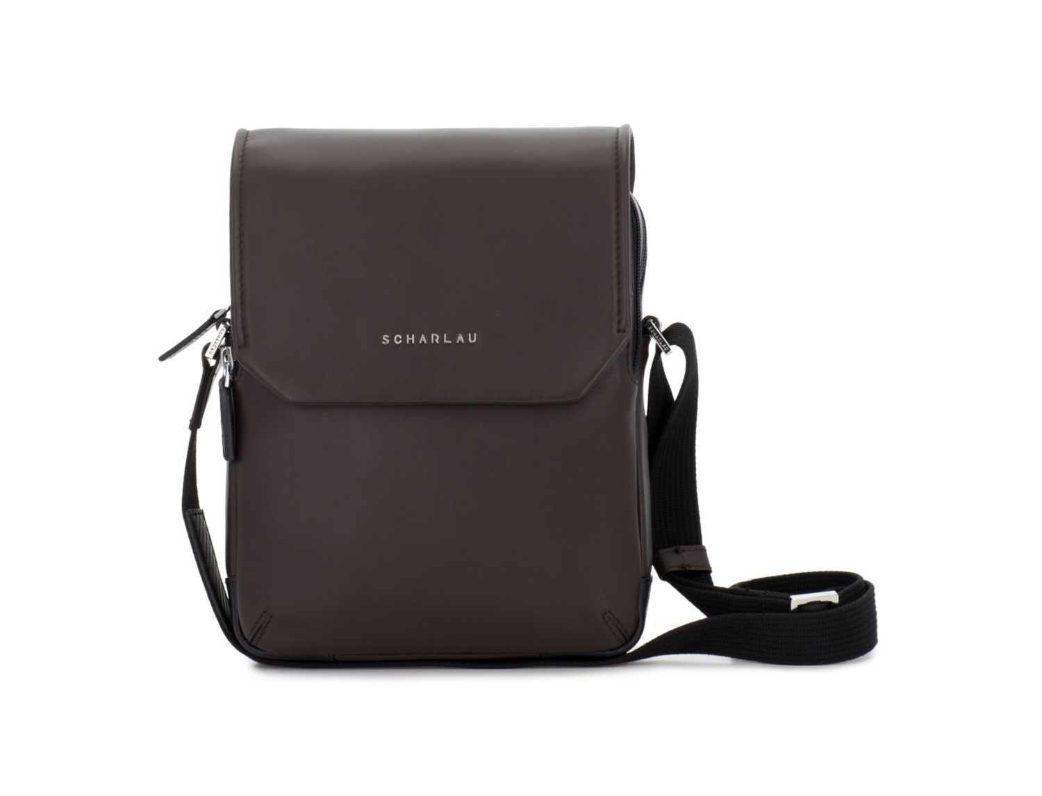 Leather crossbody bag with flap in brown front