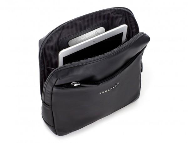 bolso bandolera de piel negra tablet