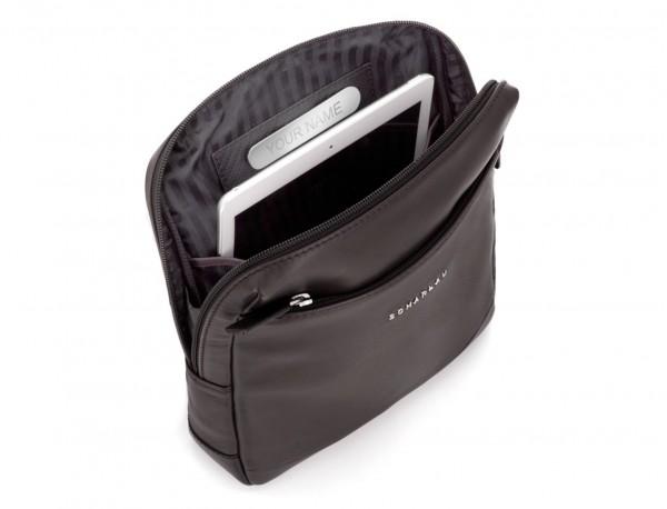 bolso bandolera de piel marrón tablet
