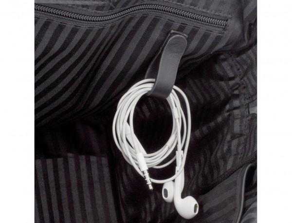 Cartella piccola in pelle nera cable