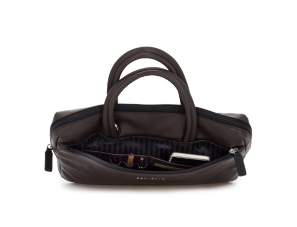 leather small business bag brown open
