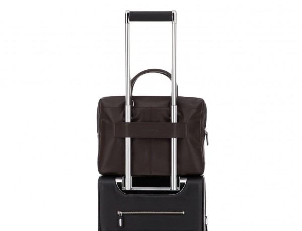 leather small business bag brown trolley