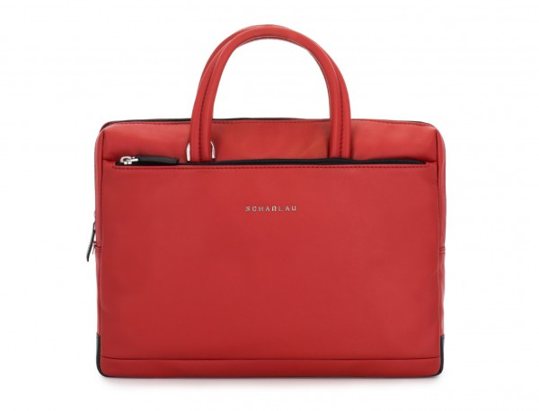leather small business bag red front