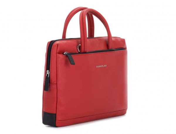 leather small business bag red side