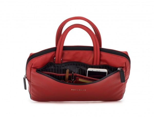 leather small business bag red inside
