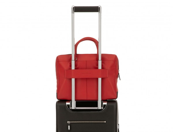 Cartella piccola in pelle rosso trolley