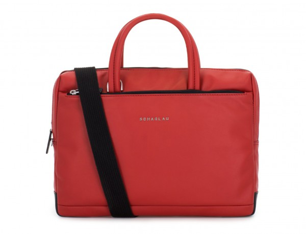 leather small business bag red strap