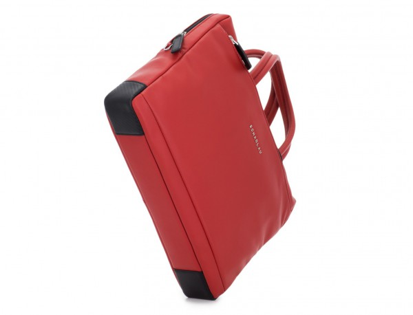 leather small business bag red base