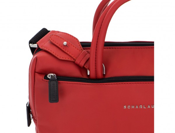 leather small business bag red detail