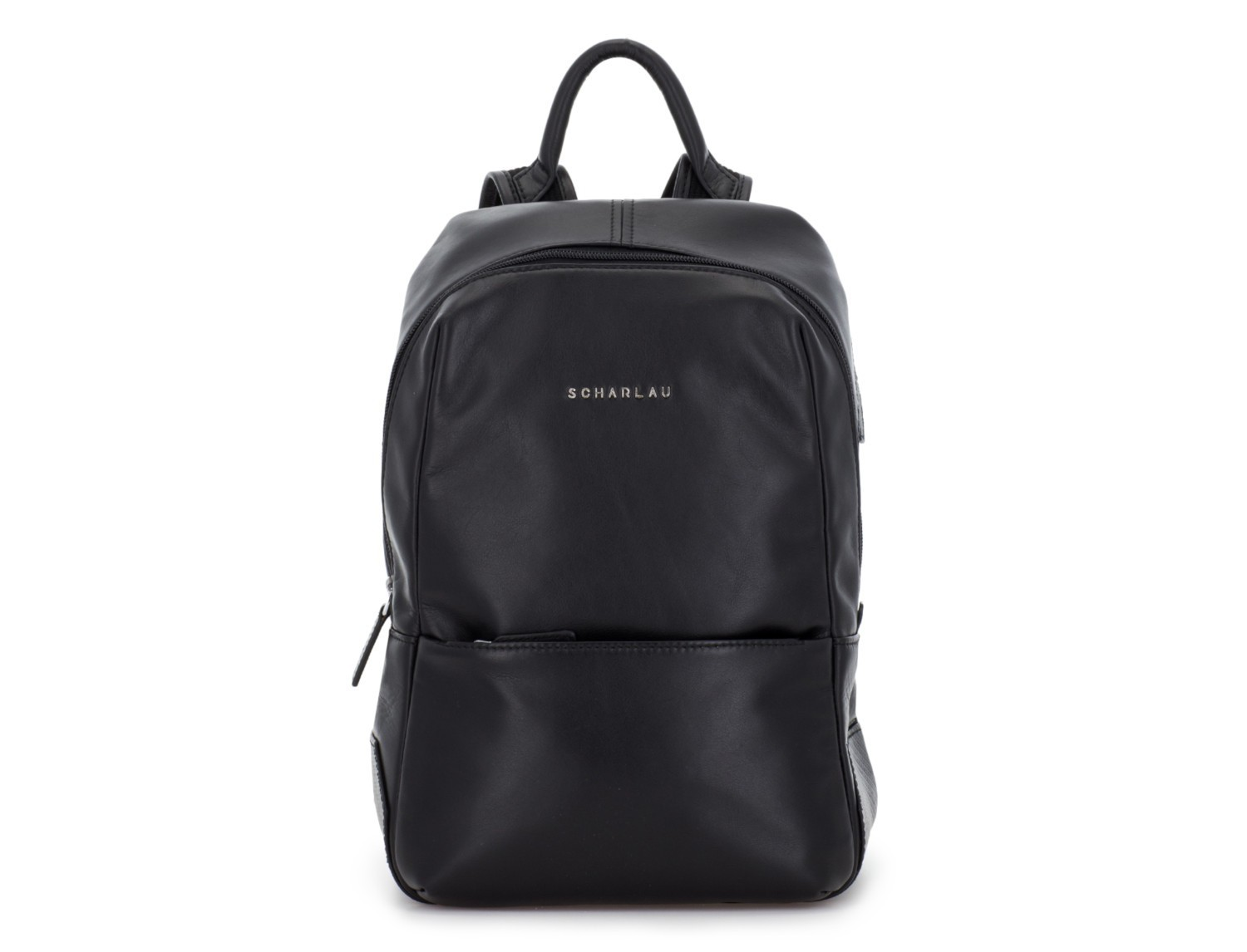 small leather backpack black front