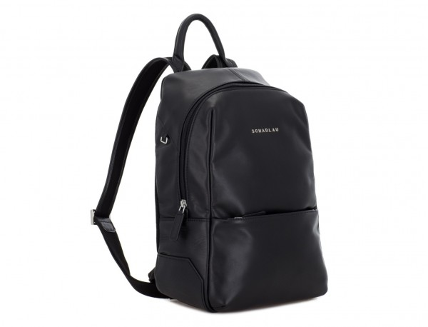 small leather backpack black side