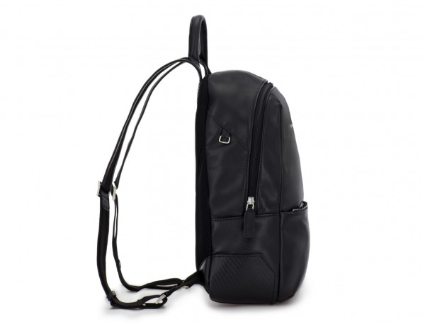 small leather backpack black perfil