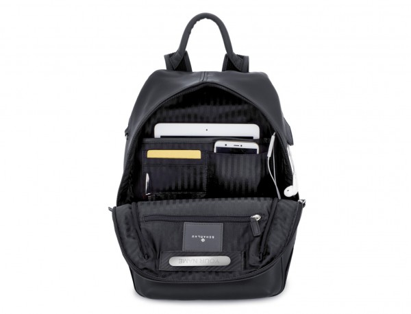 small leather backpack black inside