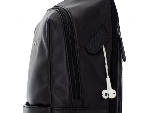 small leather backpack black zipper