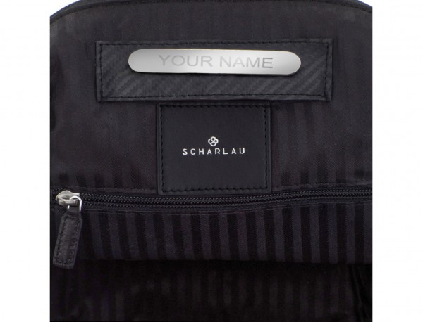 small leather backpack black personalized