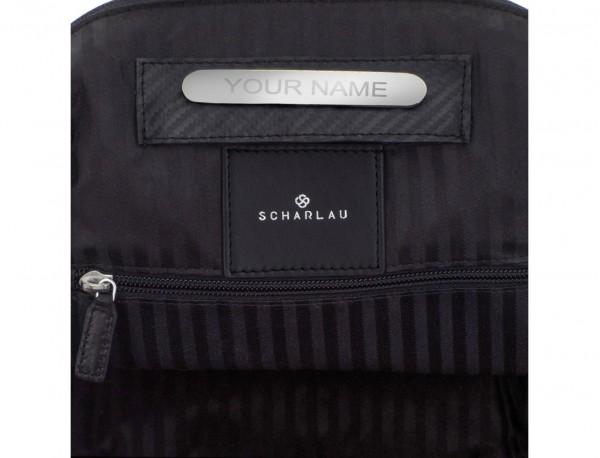 mochila pequeña de piel negra personalizada