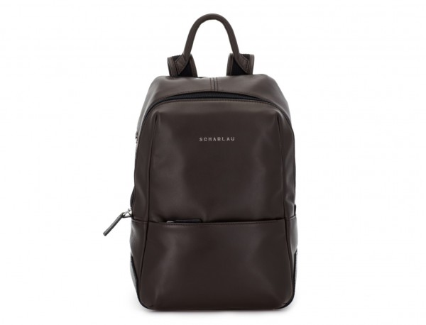 small leather backpack brown front