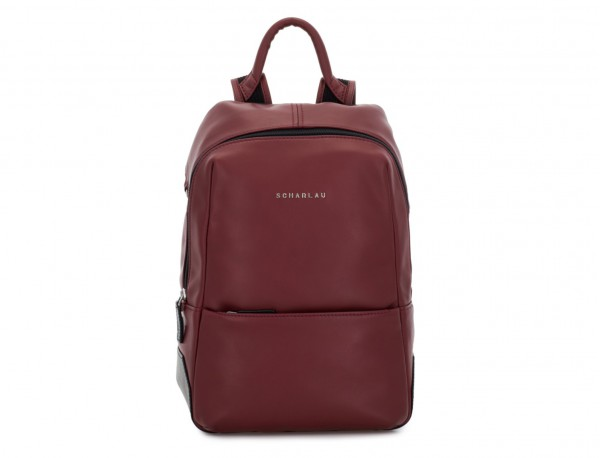 small leather backpack burgundy front
