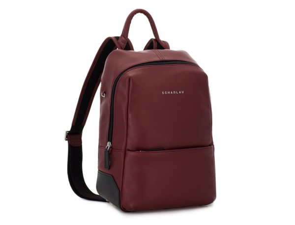 small leather backpack burgundy side