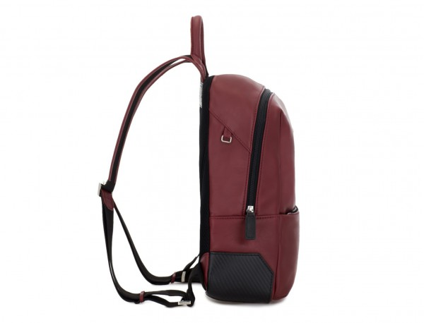 small leather backpack burgundy perfil