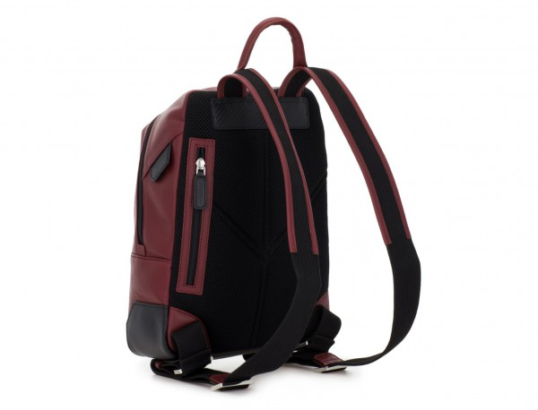 small leather backpack burgundy back