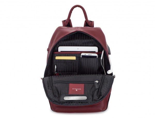 small leather backpack burgundy tablet