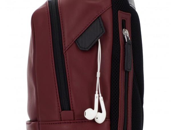 small leather backpack burgundy zipper
