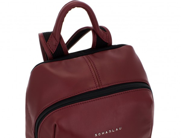 small leather backpack burgundy handle
