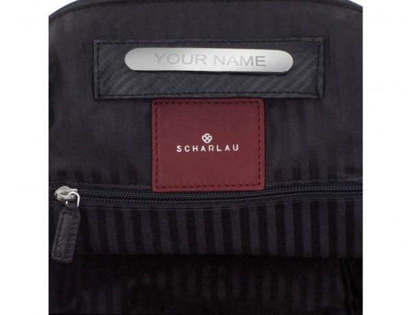 mochila pequeña de piel burdeos personalizada