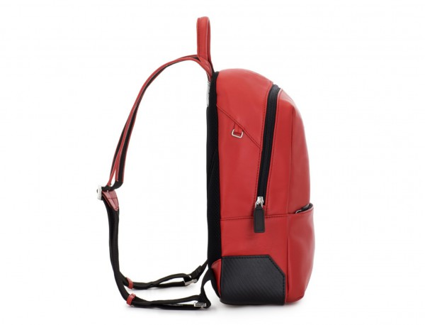small leather backpack red perfil