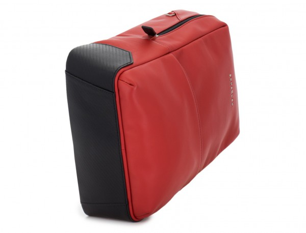 small leather backpack red base