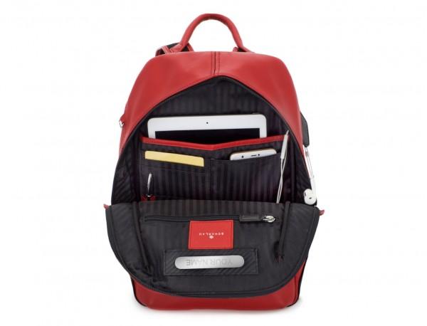 mochila pequeña de piel roja interior