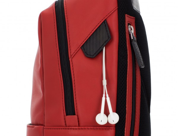 small leather backpack red zipper
