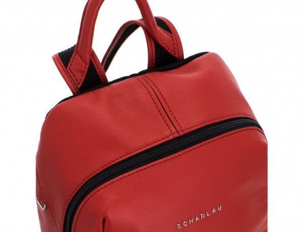 small leather backpack red detail