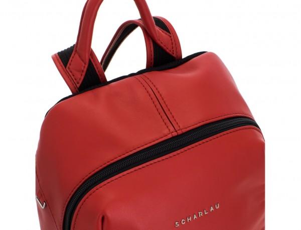 mochila pequeña de piel roja cuero