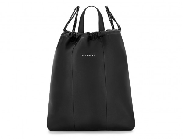 leather flat backpack in black front