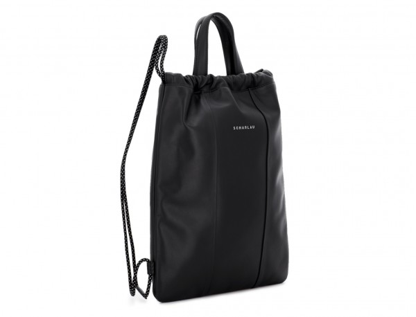 leather flat backpack in black side