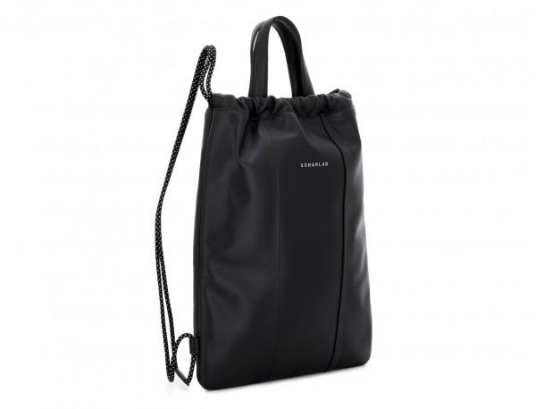 mochila plana de piel negra lateral