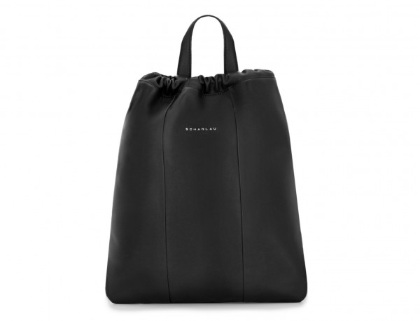 leather flat backpack in black tote