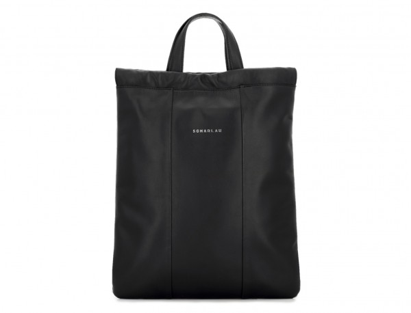 leather flat backpack in black shopping bag