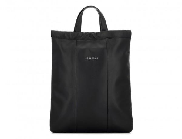 mochila plana de piel negra bolso