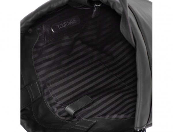 leather flat backpack in black personalized