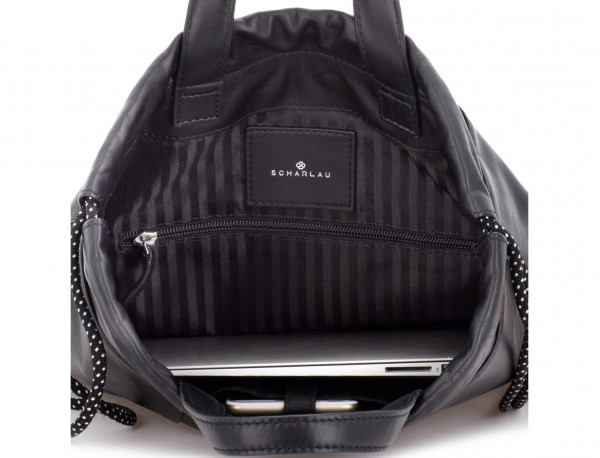 leather flat backpack in black laptop