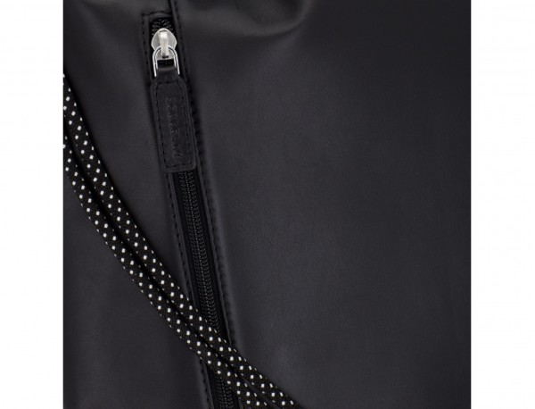 leather flat backpack in black detail