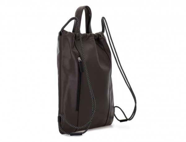 leather flat backpack in brown back