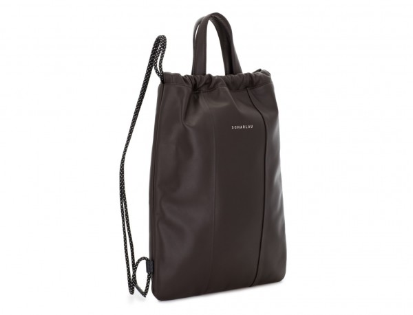 leather flat backpack in brown side