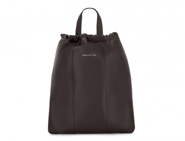leather flat backpack in brown tote